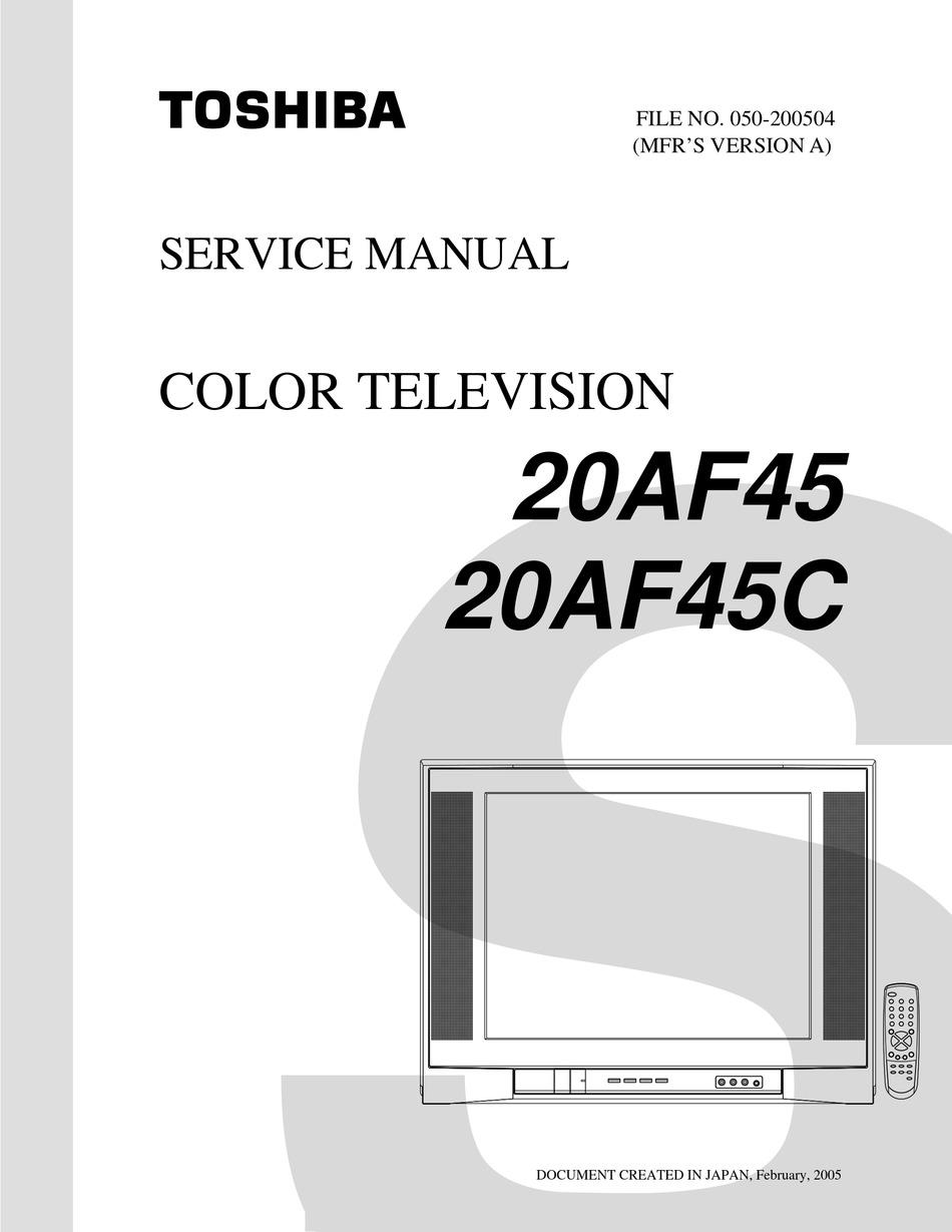 Toshiba 20af45 Service Manual Pdf Download Manualslib