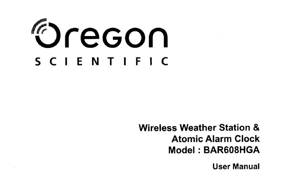 Oregon Scientific Bar608hga User Manual Pdf Download Manualslib