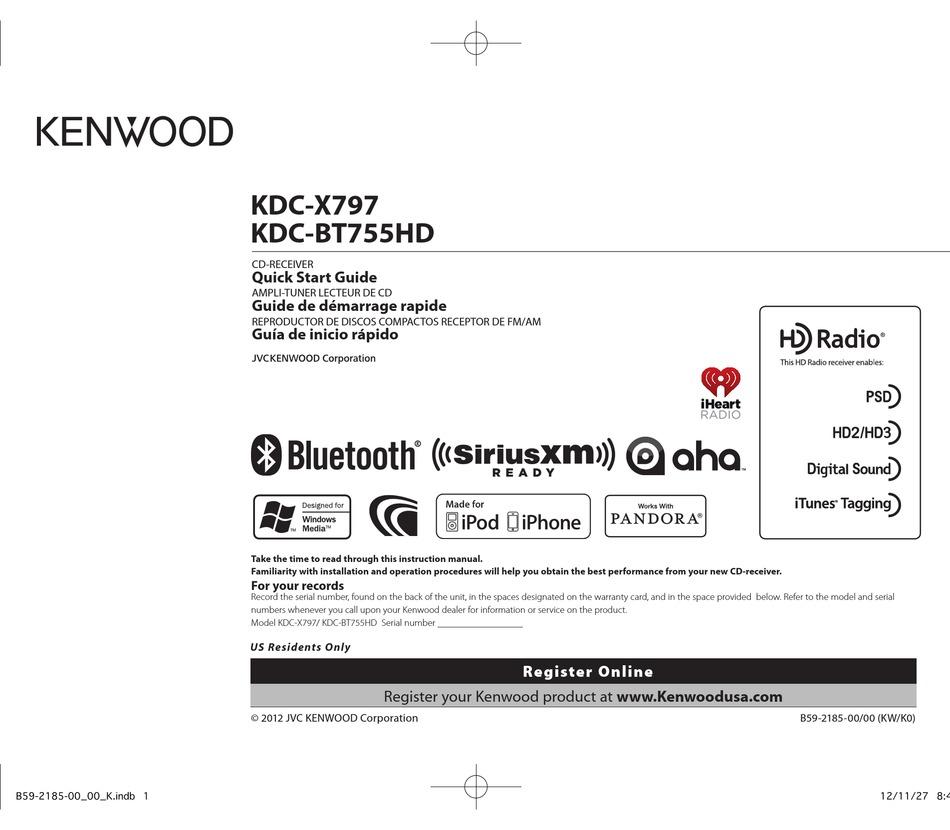 Kenwood Kdc X797 Quick Start Manual Pdf Download Manualslib