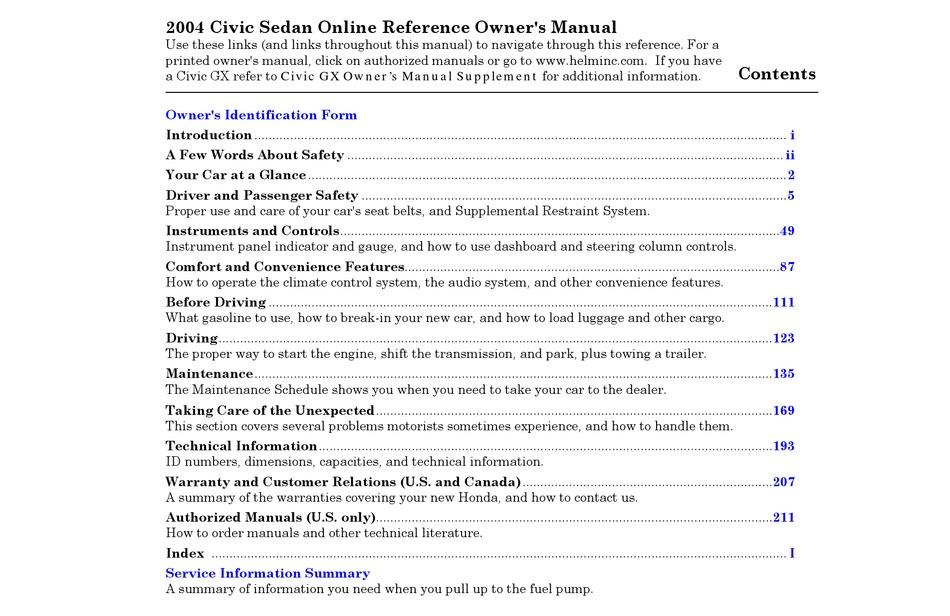 honda 2004 civic sedan owner's manual pdf download | manualslib  manualslib