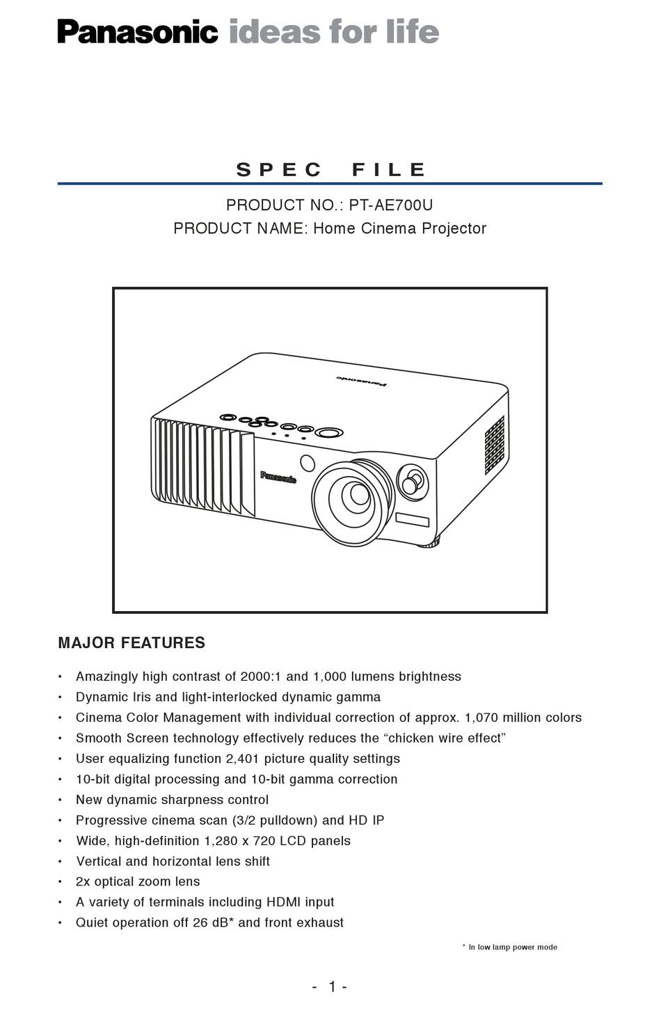 Panasonic Pt Ae700u Spec File Pdf Download Manualslib