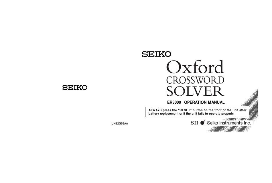 Seiko Oxford Crossword Solver Er3000 Operation Manual Pdf Download Manualslib