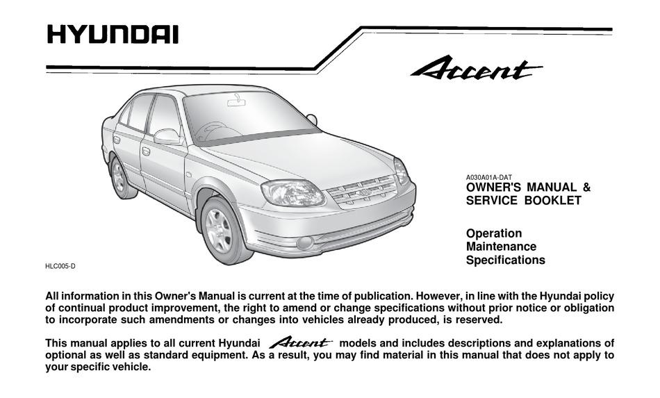hyundai accent owner's manual pdf download | manualslib  manualslib