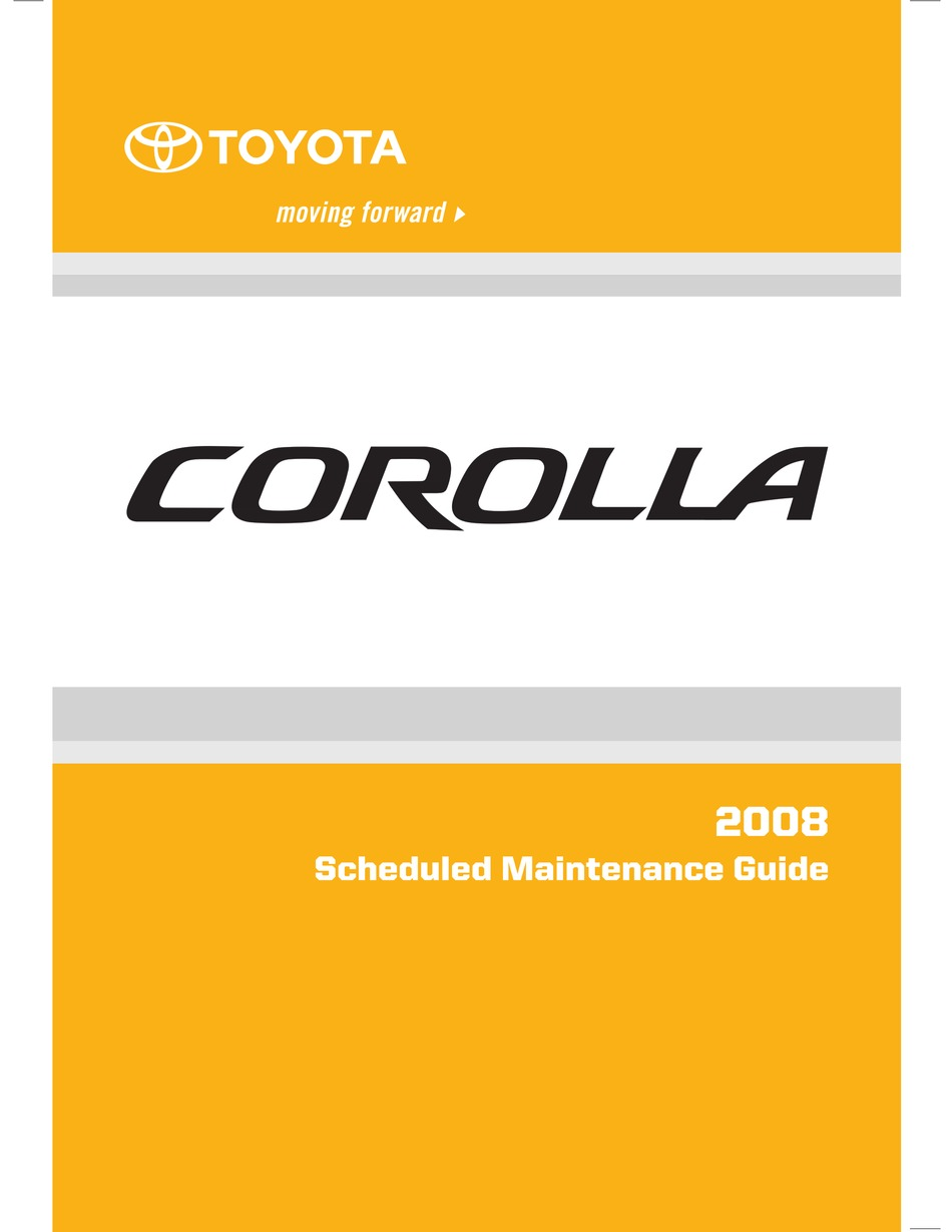 Toyota Corolla 2008 Maintenance Manual Pdf Download Manualslib