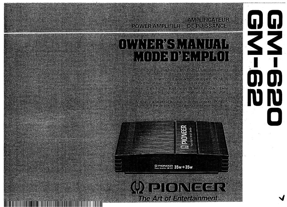 pioneer gm-620 owner's manual pdf download   manualslib  manualslib