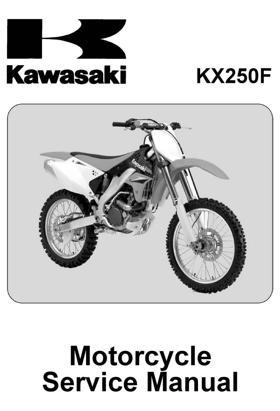Kawasaki Kx250f Service Manual Pdf Download Manualslib