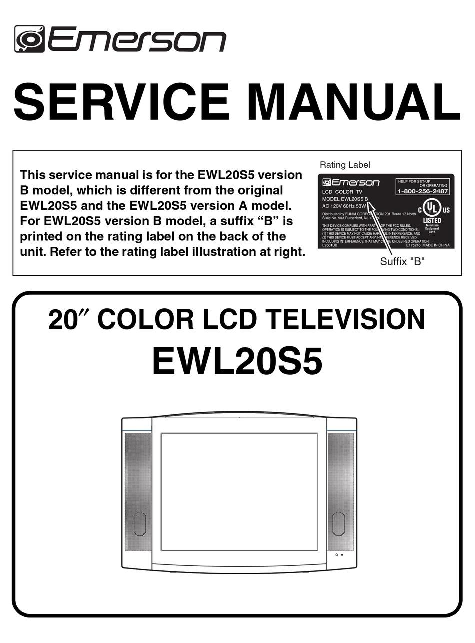 Emerson Ewl20s5 Service Manual Pdf Download Manualslib