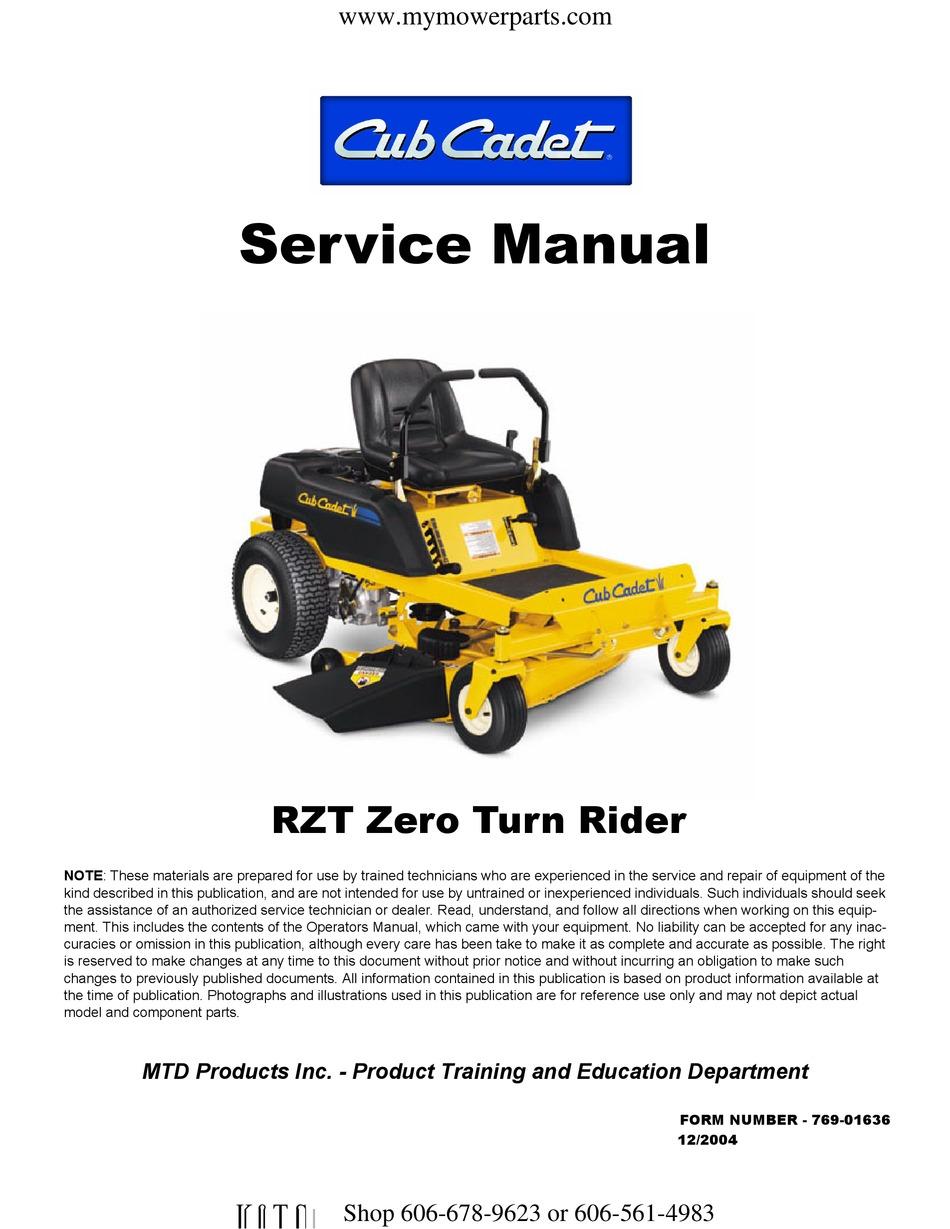 CUB CADET RZT ZERO TURN 17 SERVICE MANUAL Pdf Download | ManualsLibManualsLib