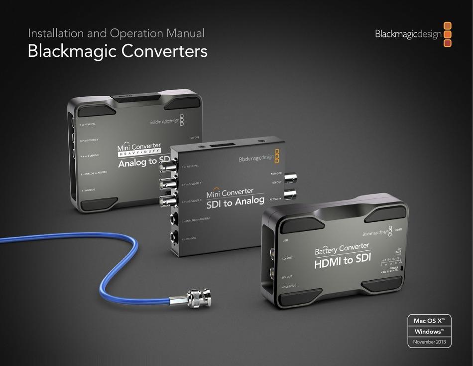 Blackmagicdesign Blackmagic Converters Installation And Operation Manual Pdf Download Manualslib