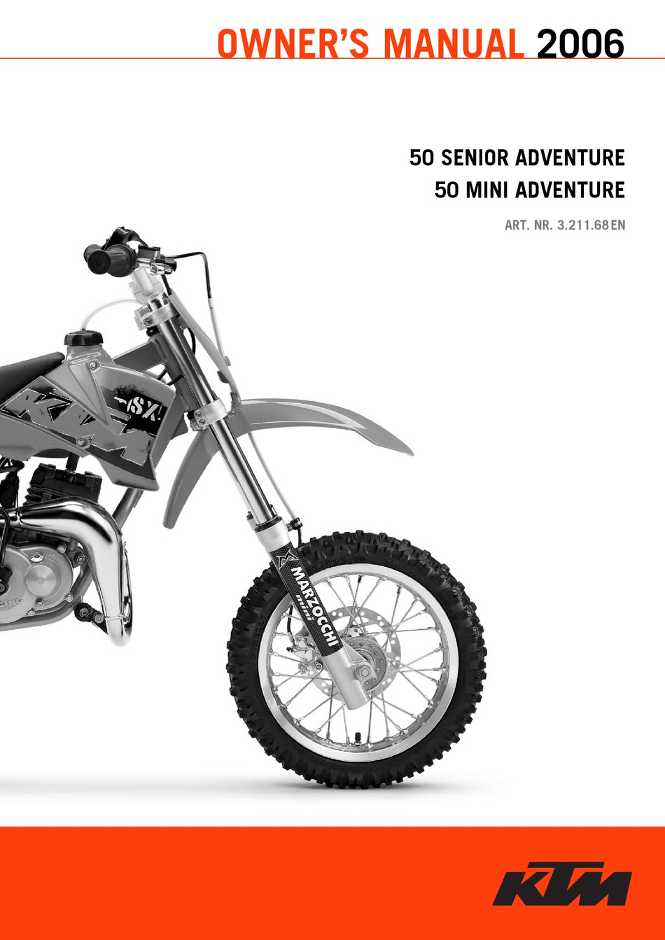 1998 KTM 50 SXR Adventure Pro Junior Pro Senior Motorcycle Owners Handbook ...