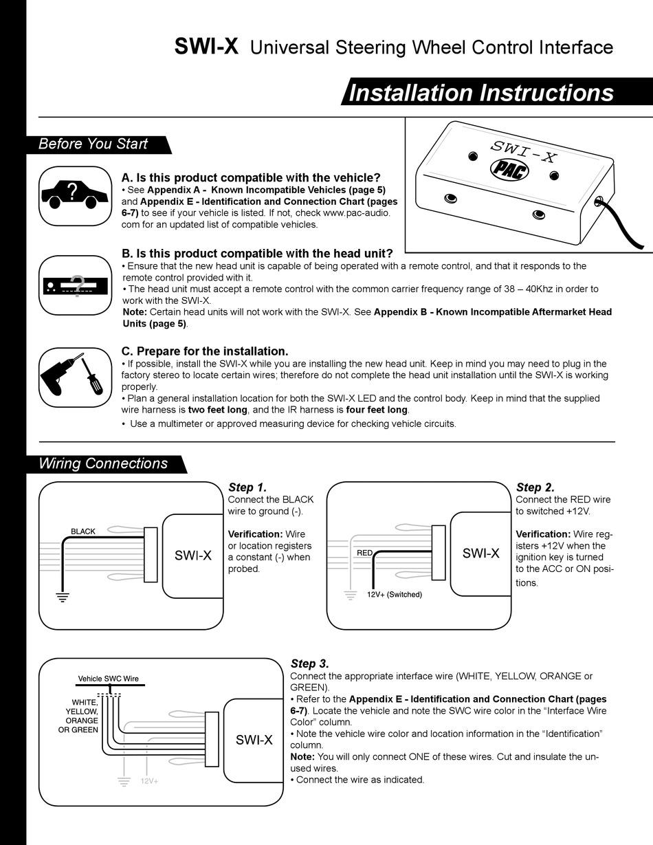 PAC SWI-X INSTALLATION INSTRUCTIONS MANUAL Pdf Download   ManualsLibManualsLib