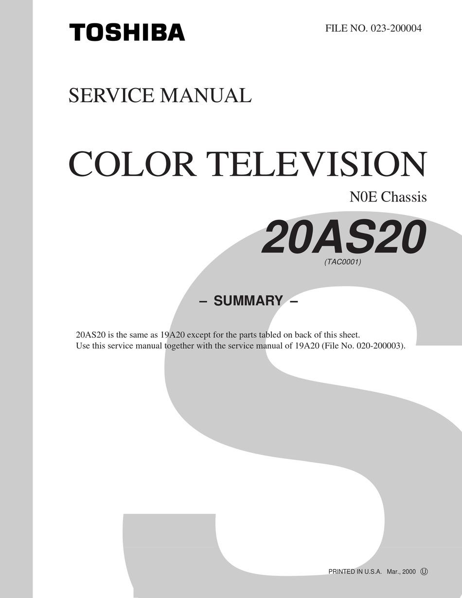 Toshiba 20as20 Service Manual Pdf Download Manualslib
