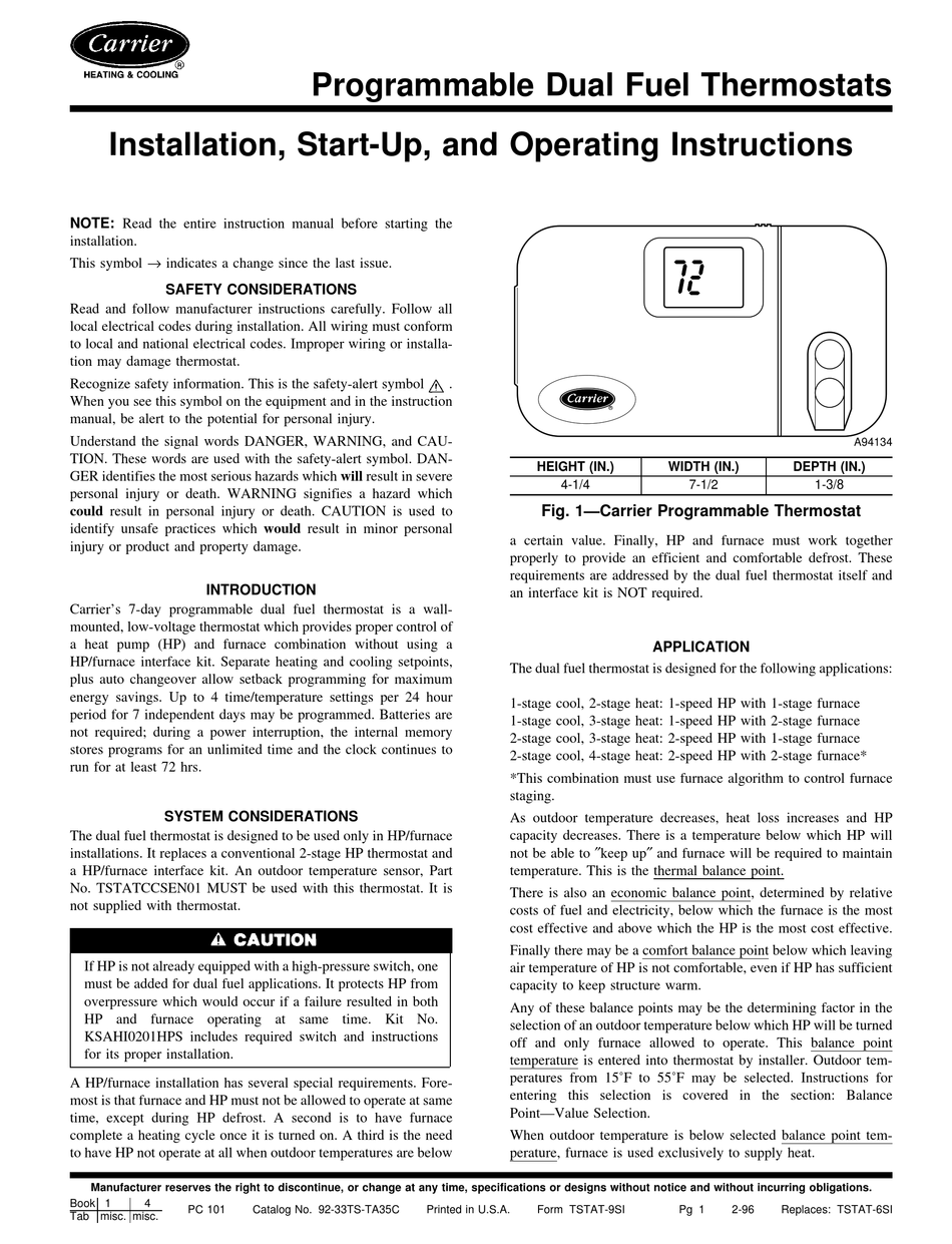Carrier Programmable Dual Fuel Thermostats Installation Start Up And Operating Instructions Manual Pdf Download Manualslib