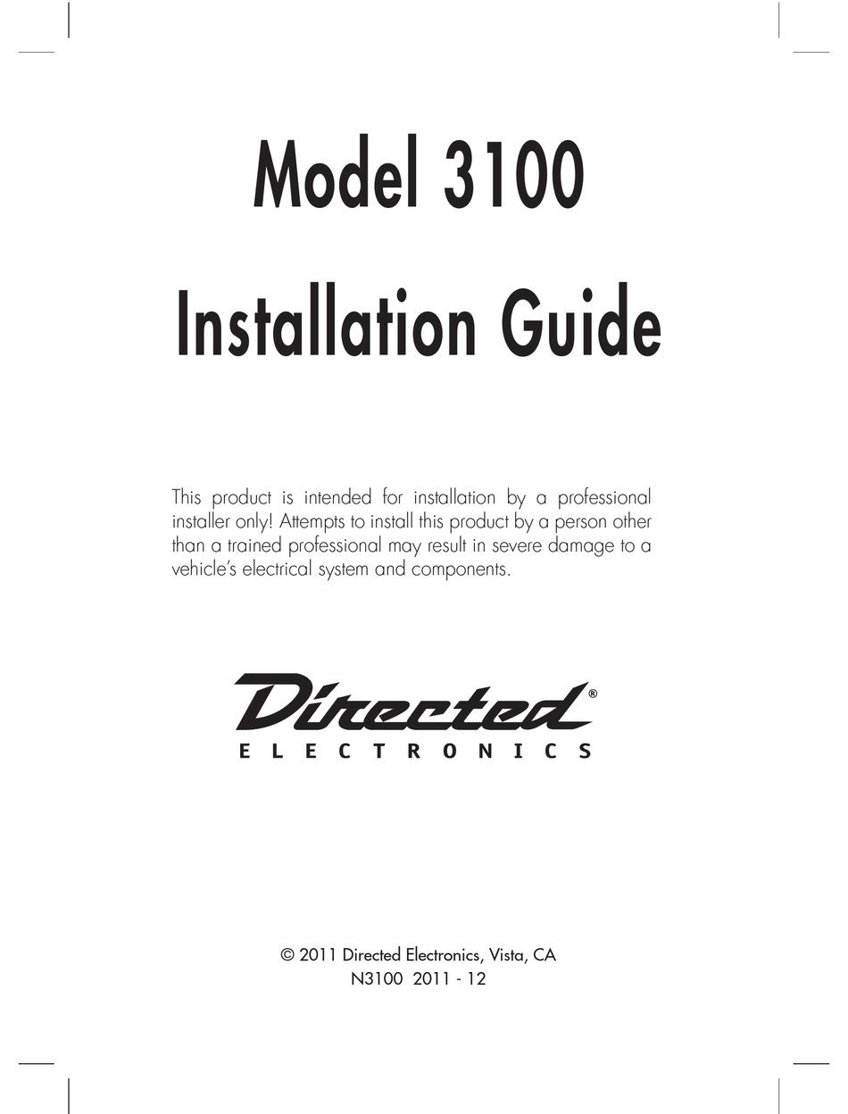 DIRECTED ELECTRONICS 3100 INSTALLATION MANUAL Pdf Download   ManualsLibManualsLib