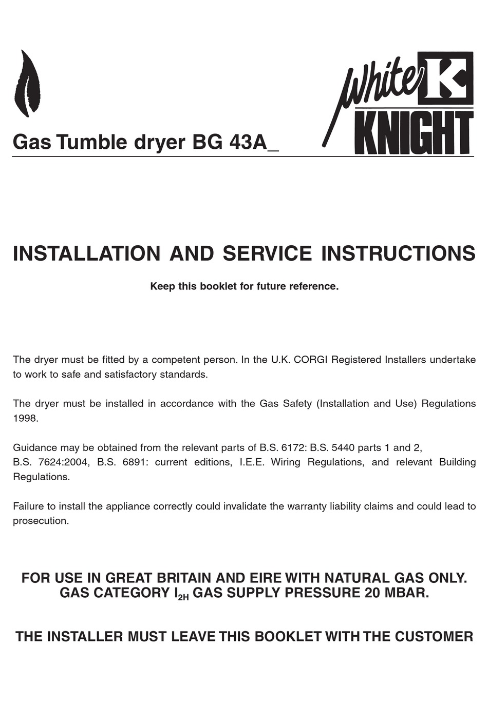 White Knight Bg 43a Installation And Service Instructions Manual Pdf Download Manualslib