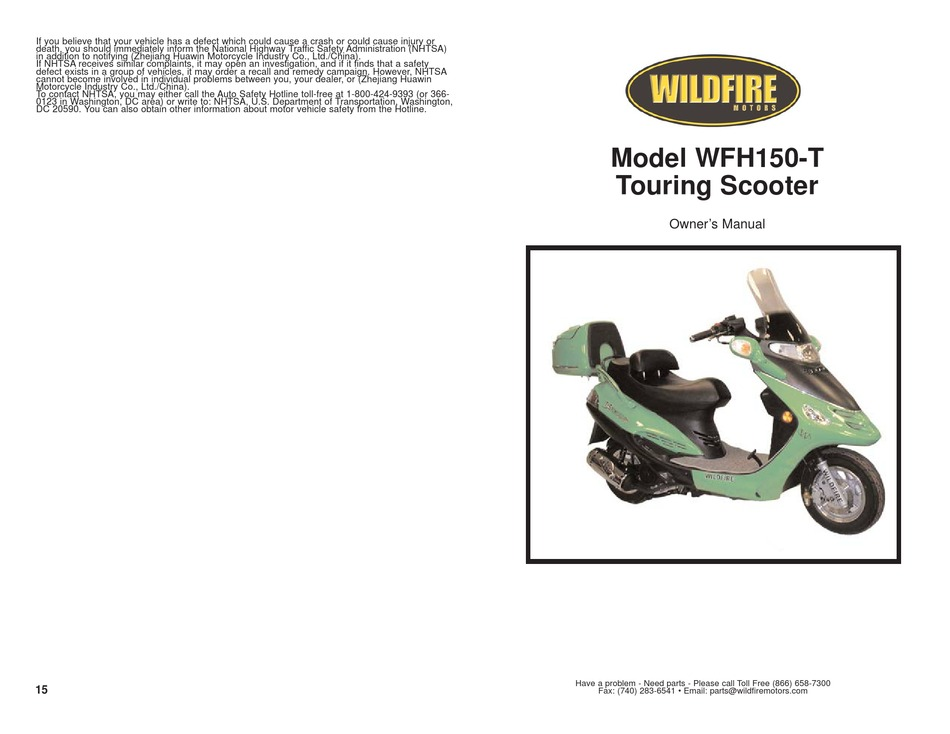 WILDFIER WFH150-T OWNER'S MANUAL Pdf Download   ManualsLib   Wildfire Scooter Kick Stand Saftey Switch Wiring Diagram      ManualsLib