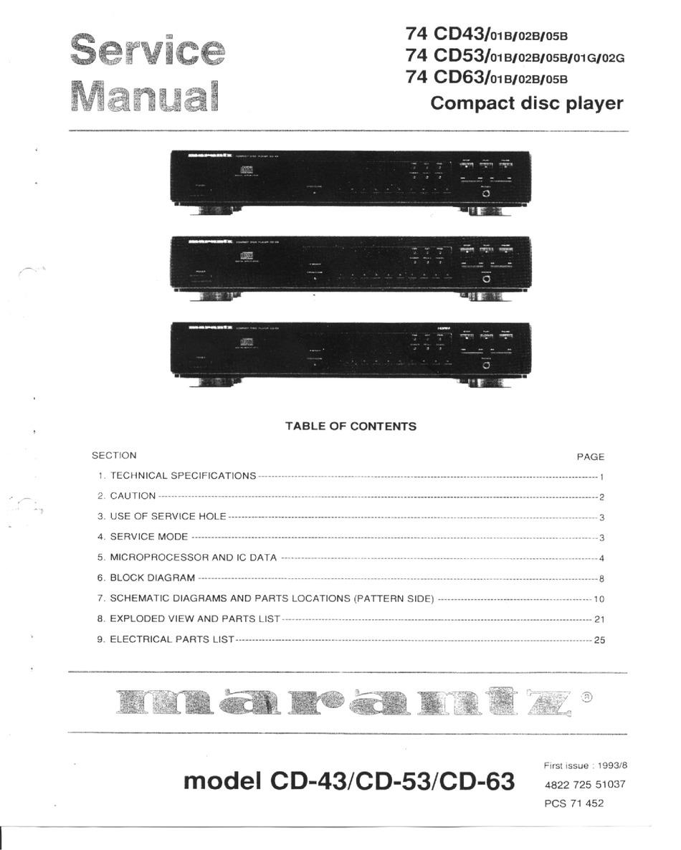Marantz Cd 43 Service Manual Pdf Download Manualslib