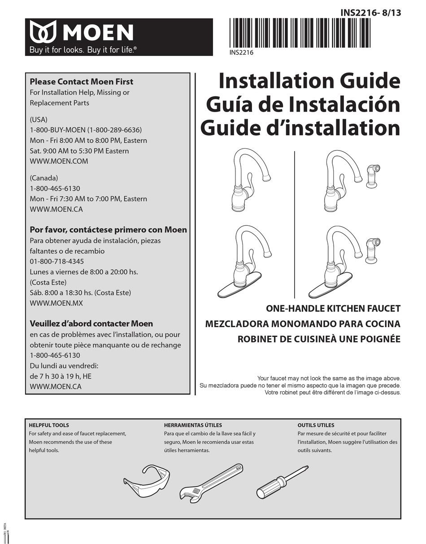 Moen One Handle Kitchen Faucet Installation Manual Pdf Download Manualslib