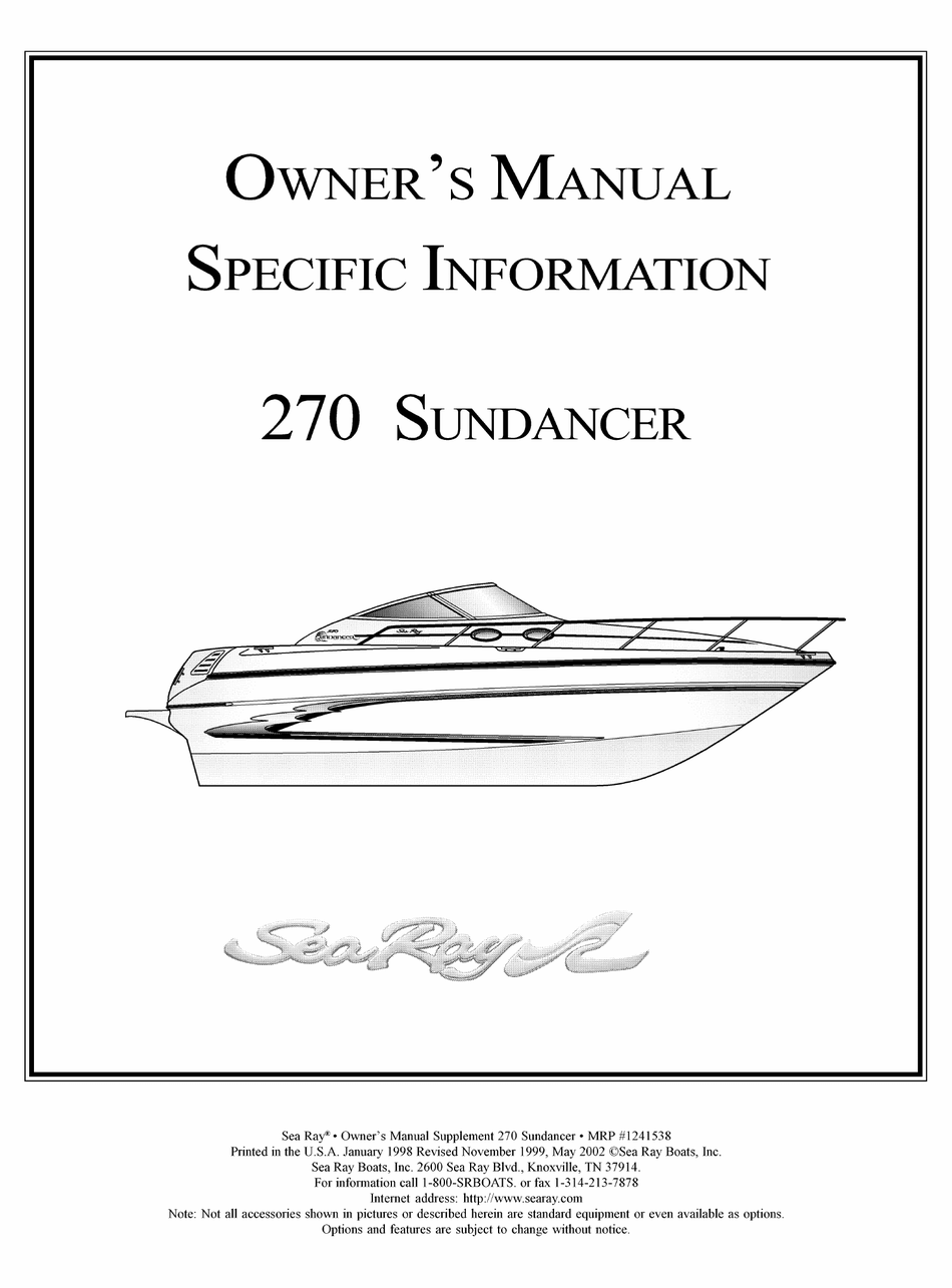 Sea Ray 270 Sundancer Owner S Manual Specific Information Pdf Download Manualslib