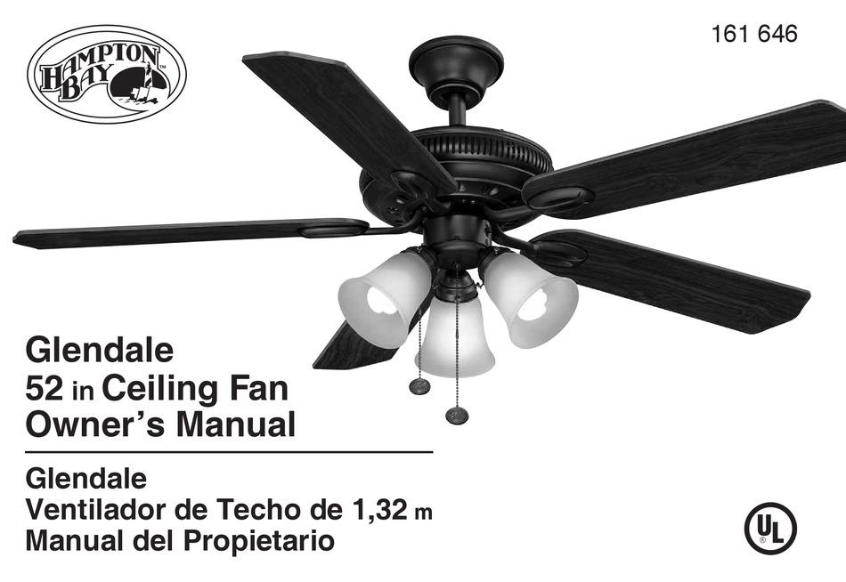 Hampton Bay Glendale Owner S Manual Pdf Download Manualslib