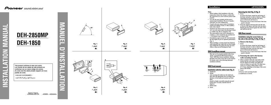 pioneer deh2850mp installation manual pdf