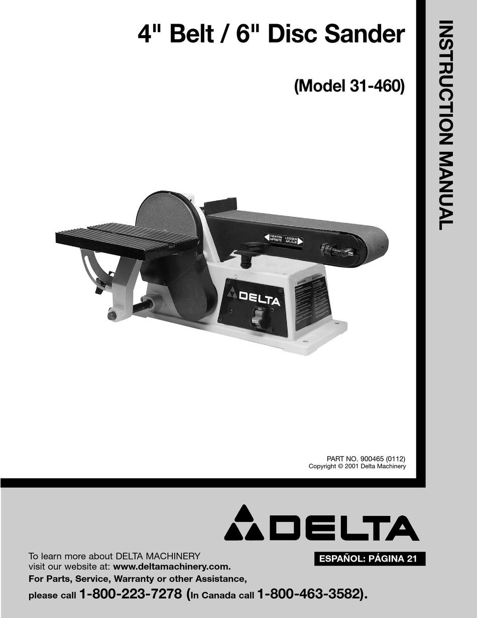 """Delta 6/"""" Belt 12/"""" Disc Sander Model 31-730 Instruction /& Parts List Manual #1591"""