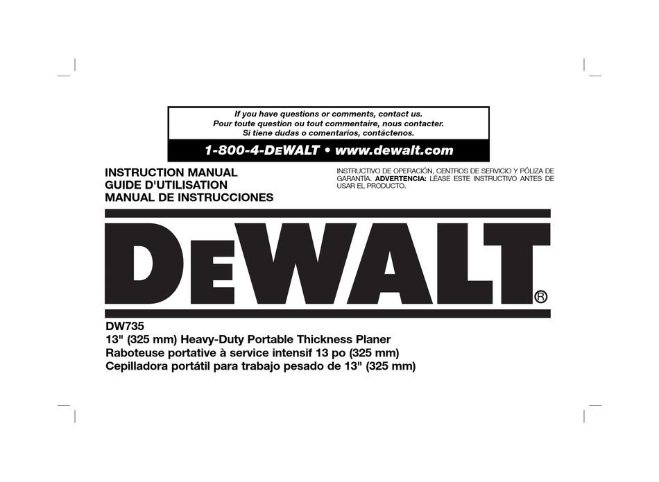 Dewalt Dw735 Instruction Manual Pdf Download Manualslib