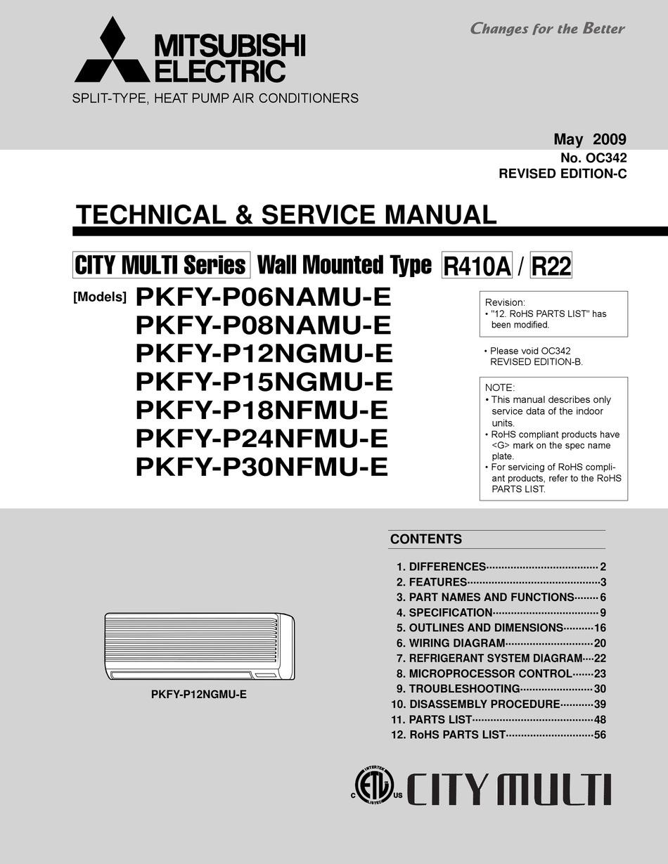 Mitsubishi Electric City Multi Pkfy P06namu E Technical Service Manual Pdf Download Manualslib