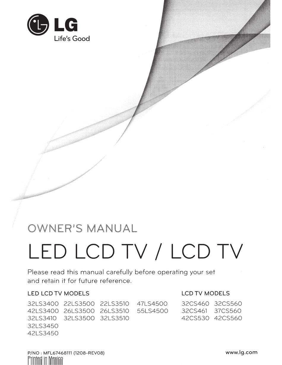 Lg 32ls3400 Owner S Manual Pdf Download Manualslib