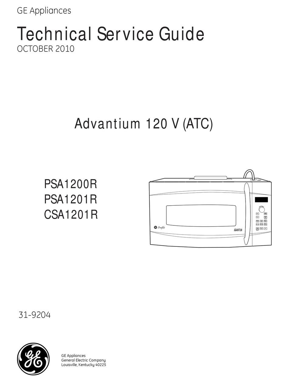 Ge Advantium Psa1200r Technical Service