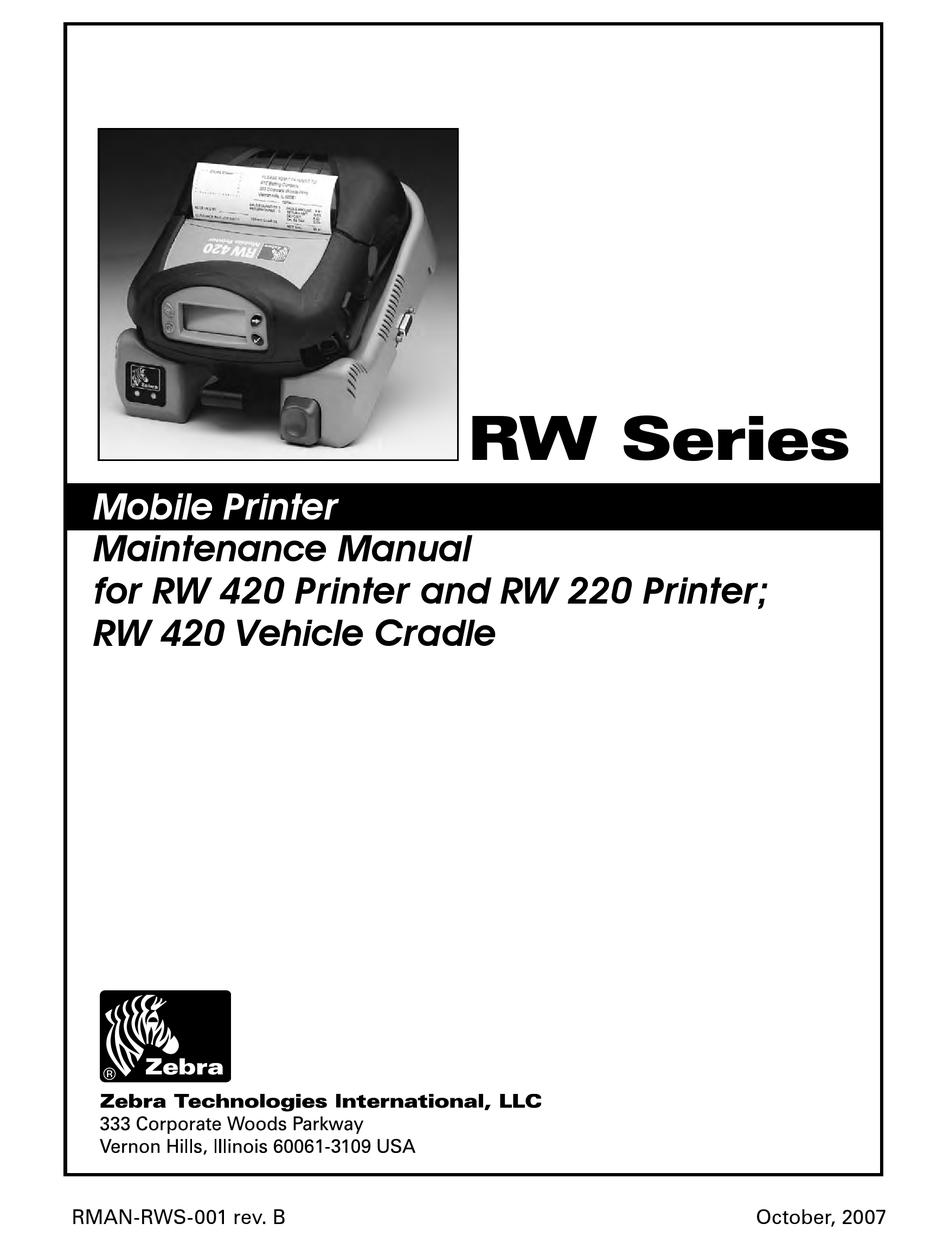 Zebra Rw 420 Maintenance Manual Pdf Download Manualslib