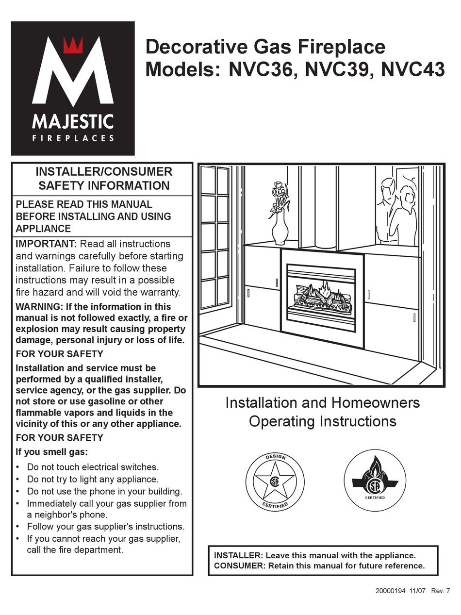 Majestic Fireplaces Nvc36 Operating Instructions Manual Pdf Download Manualslib
