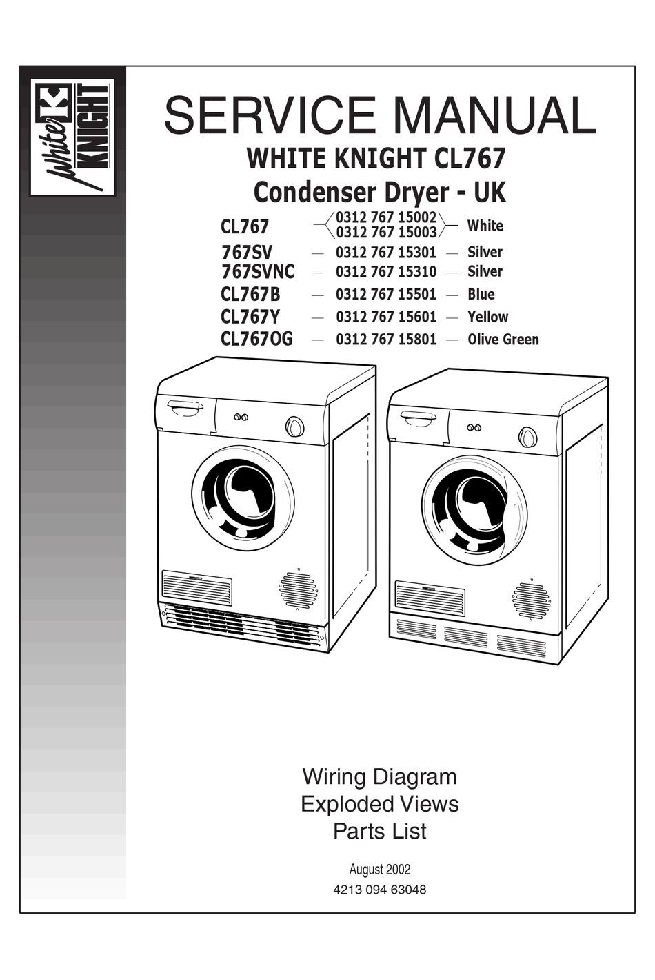 WHITE KNIGHT CL767 SERVICE MANUAL Pdf Download | ManualsLib | White Knight Tumble Dryer Wiring Diagram |  | ManualsLib
