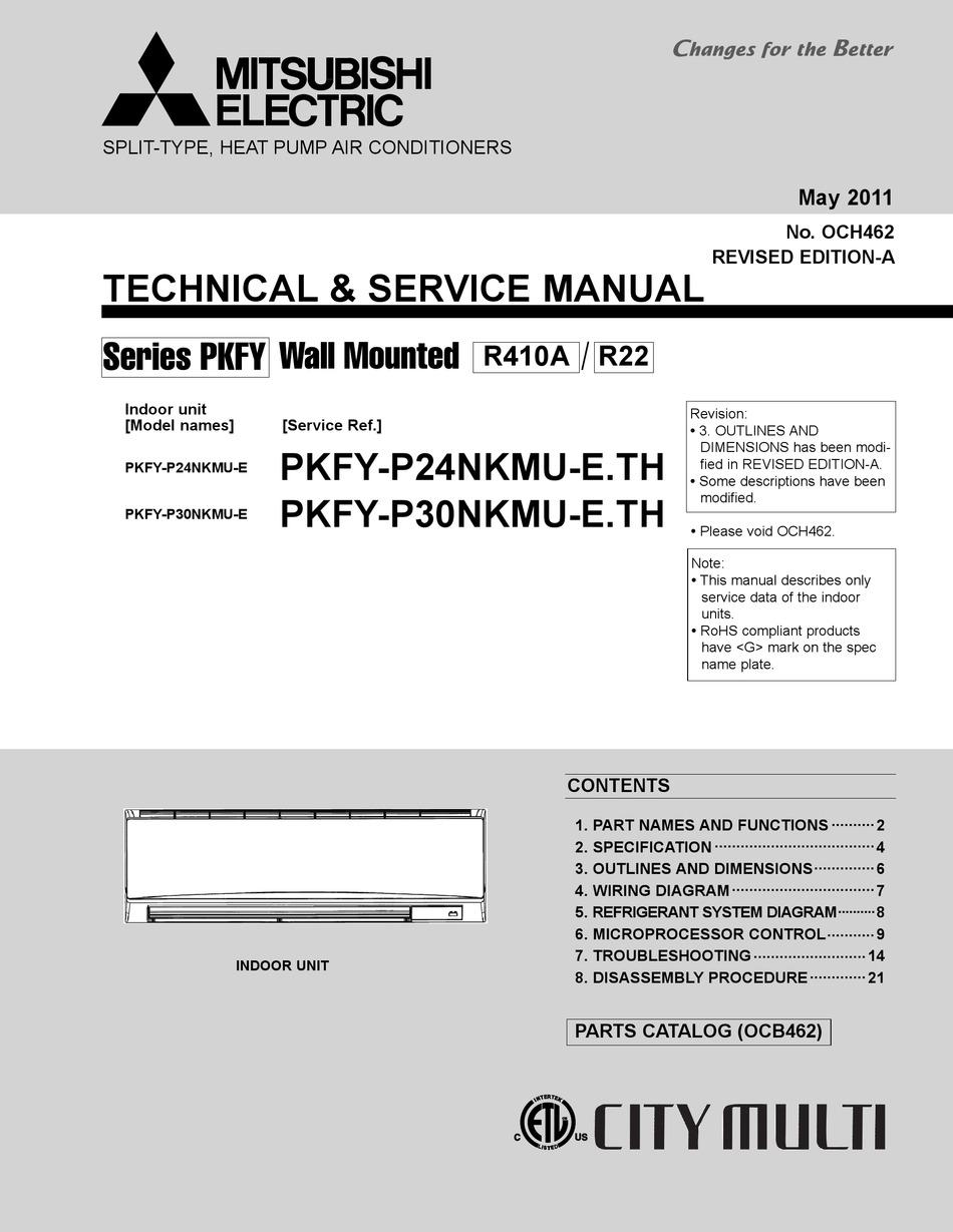 Mitsubishi Electric City Multi Pkfy P24nkmu E Technical Service Manual Pdf Download Manualslib