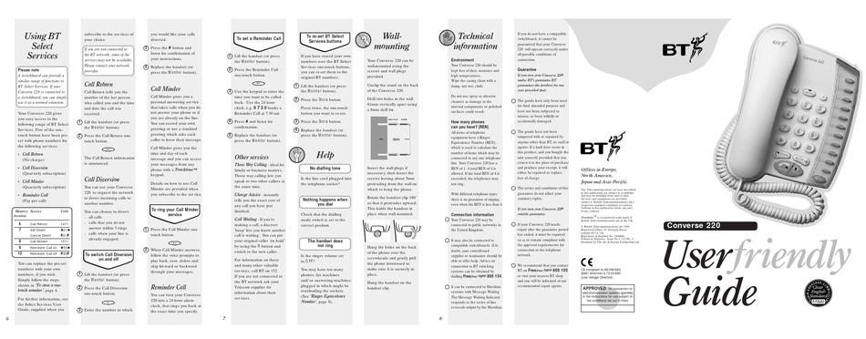 bt converse 2100 user manual