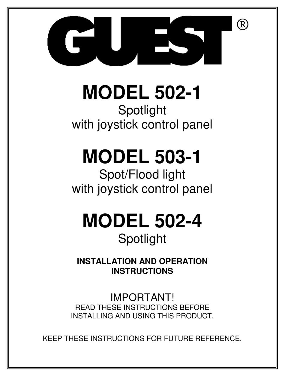 GUEST 502-1 INSTALLATION AND OPERATION INSTRUCTIONS MANUAL Pdf Download |  ManualsLib | Guest Spotlight Wiring Diagram |  | ManualsLib