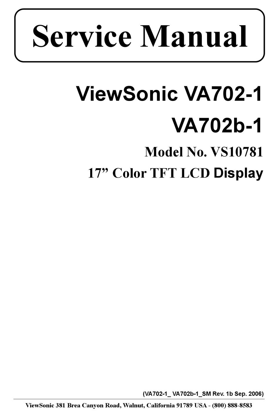 Viewsonic Va702 1 Service Manual Pdf Download Manualslib