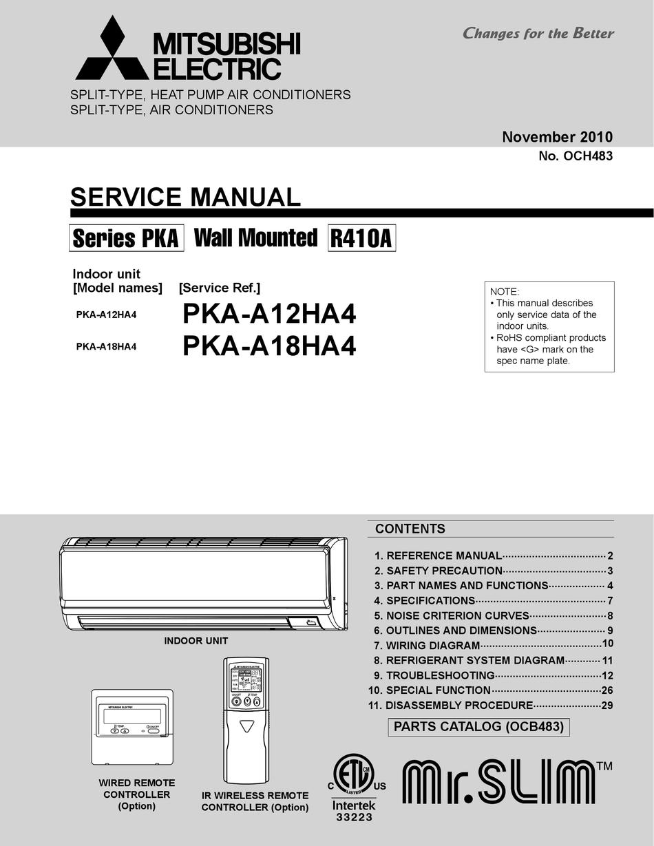 MITSUBISHI ELECTRIC MR.SLIM PKA-A12HA4 SERVICE MANUAL Pdf Download |  ManualsLib | Split System Wiring Diagrams For Mitsubishi Pkaa24 |  | ManualsLib