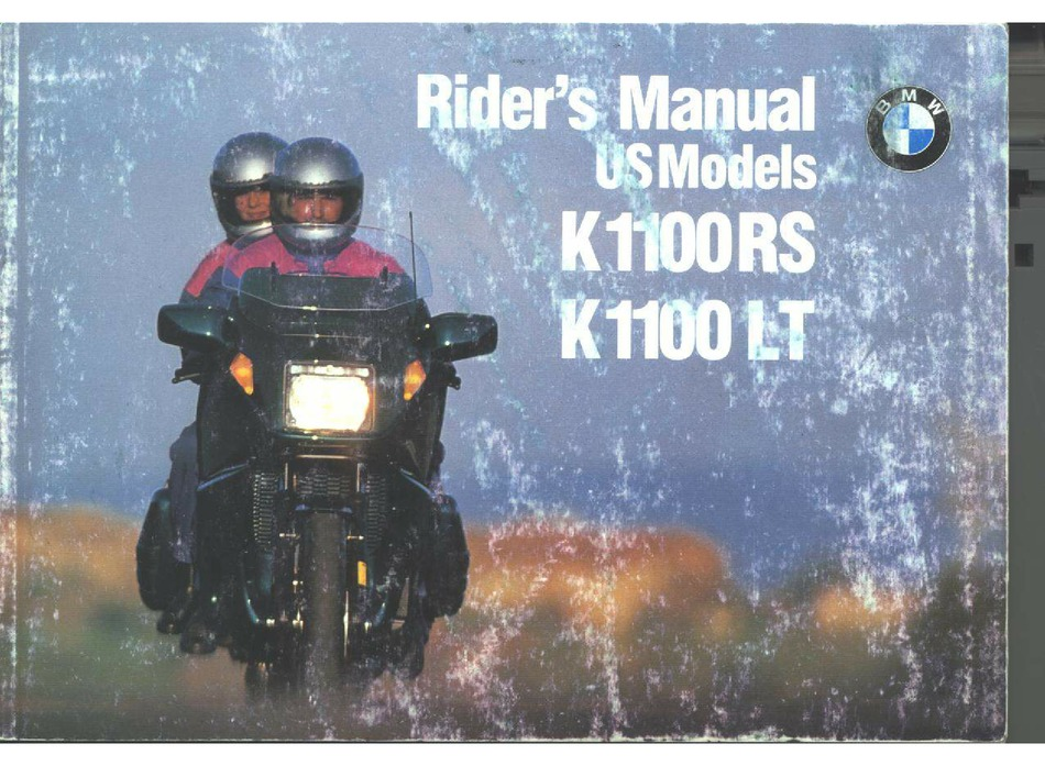 Bmw K 1100 Lt Rider S Manual Pdf Download Manualslib
