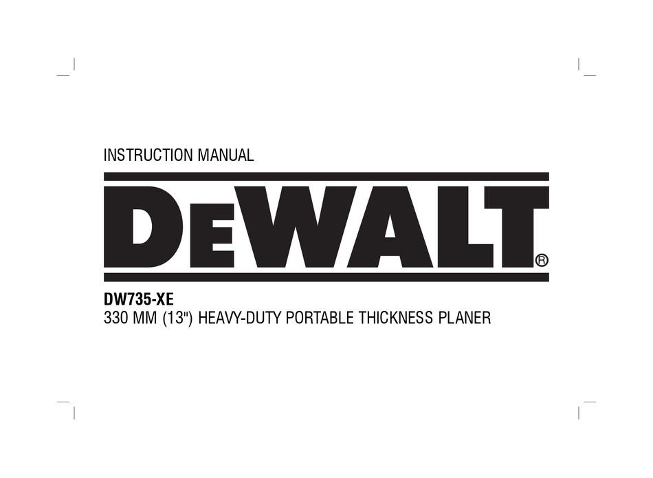 Dewalt Dw735 Xe Instruction Manual Pdf Download Manualslib