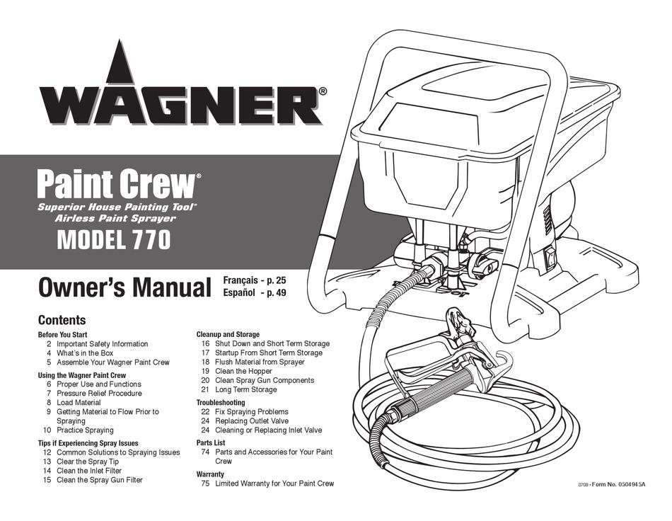 Wagner 770 Owner S Manual Pdf Download Manualslib