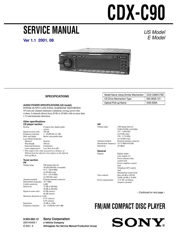 Sony Cdx C90 Service Manual Pdf