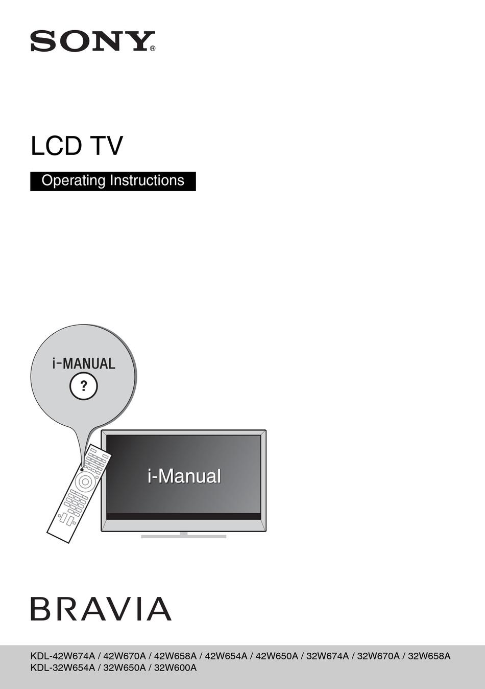 Sony Bravia Kdl 42w674a Operating Instructions Manual Pdf Download Manualslib