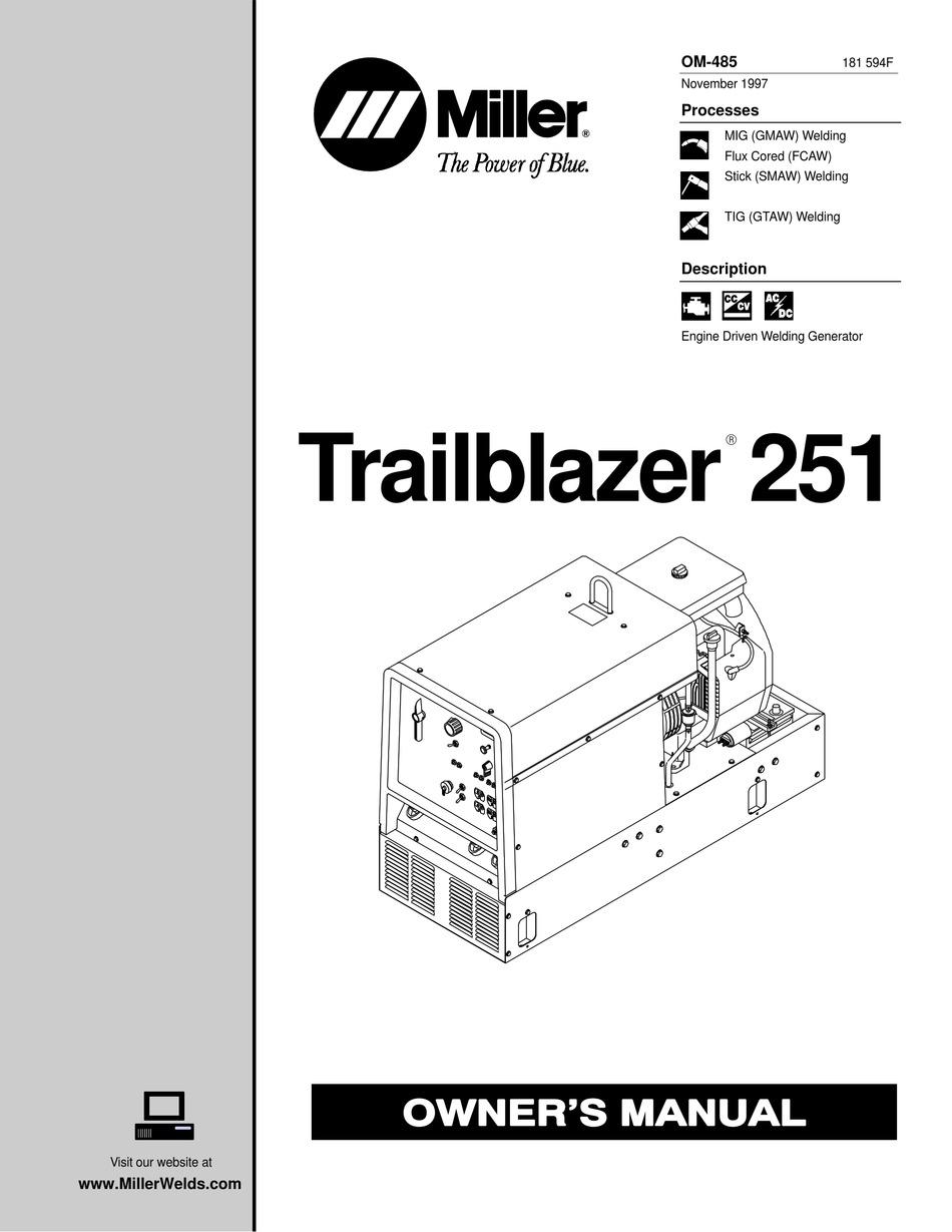 Miller Trailblazer 251 Owner S Manual Pdf Download Manualslib