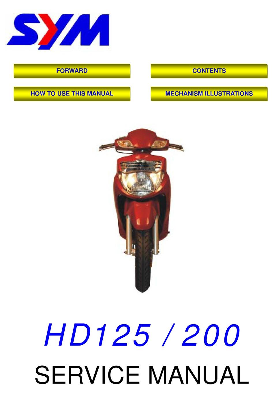 Sym Hd 125 Service Manual Pdf Download Manualslib