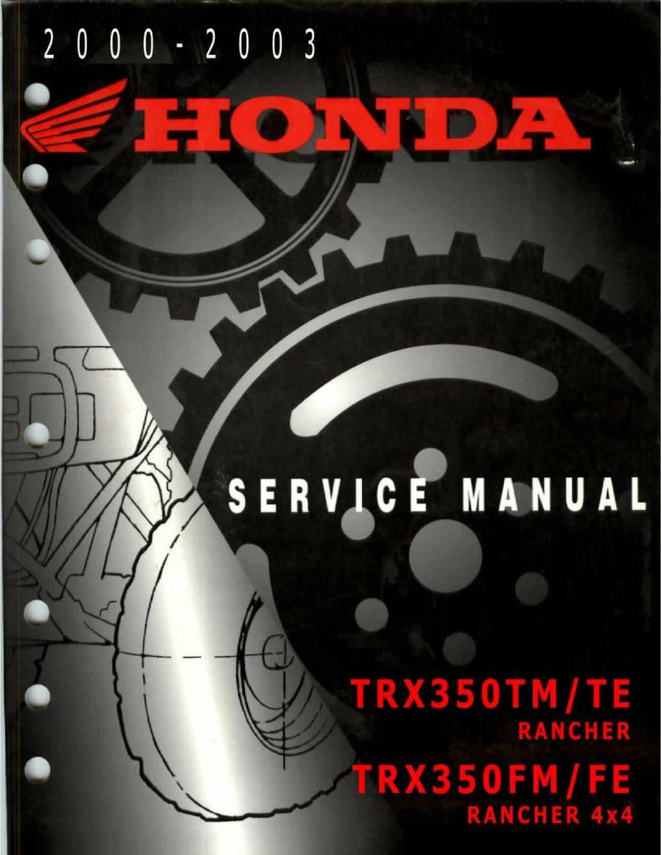 Honda Trx350tm Rancher Service Manual Pdf Download Manualslib