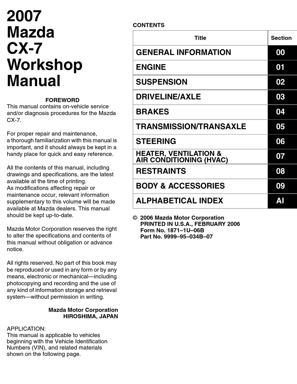 Mazda Cx 7 2007 Workshop Manual Pdf Download Manualslib