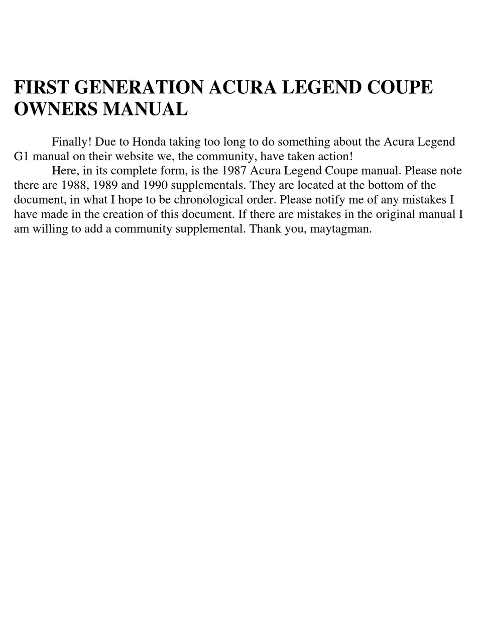 Acura Legend Coupe Owner S Manual Pdf Download Manualslib