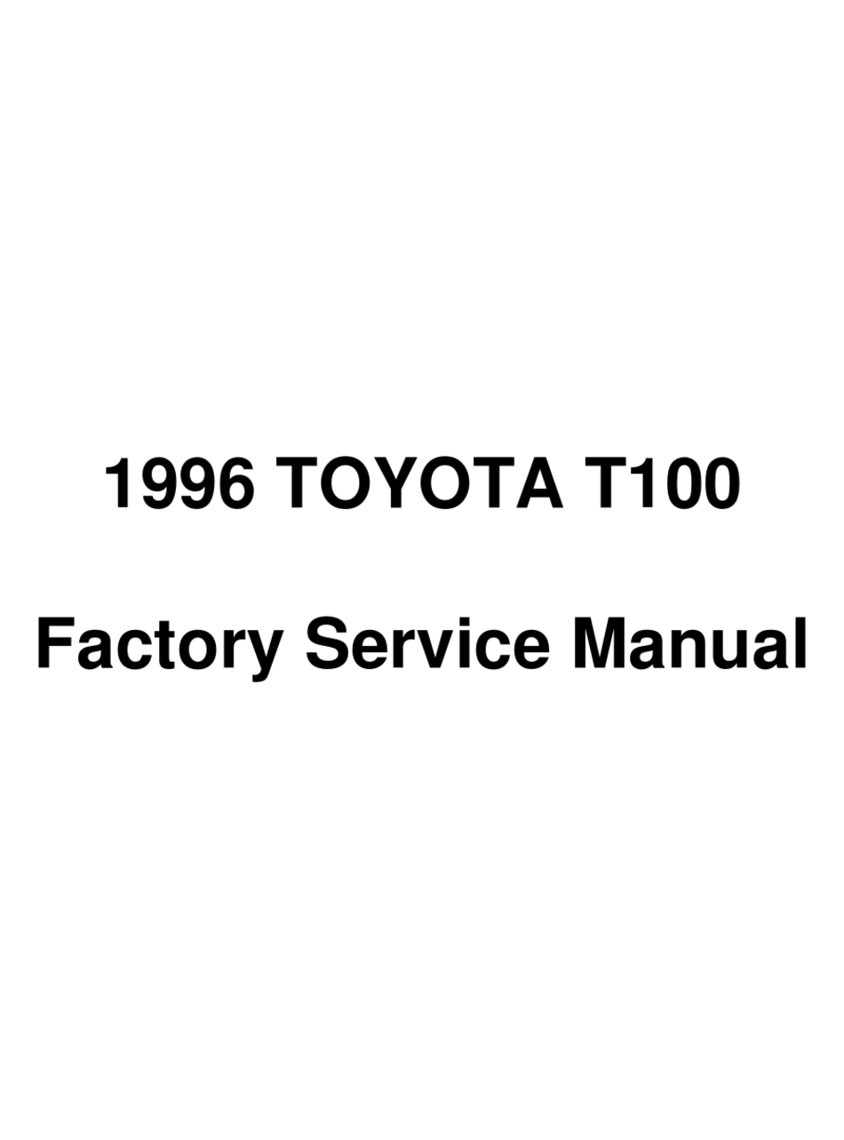 Toyota T100 1996 Service Manual Pdf Download Manualslib