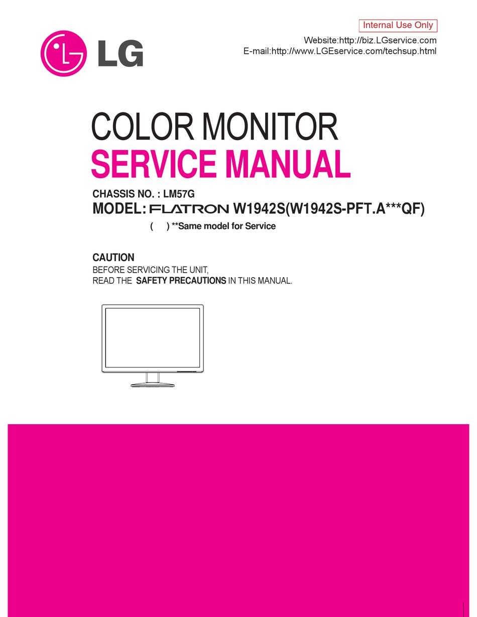 Lg Flatron W1942s Service Manual Pdf Download Manualslib